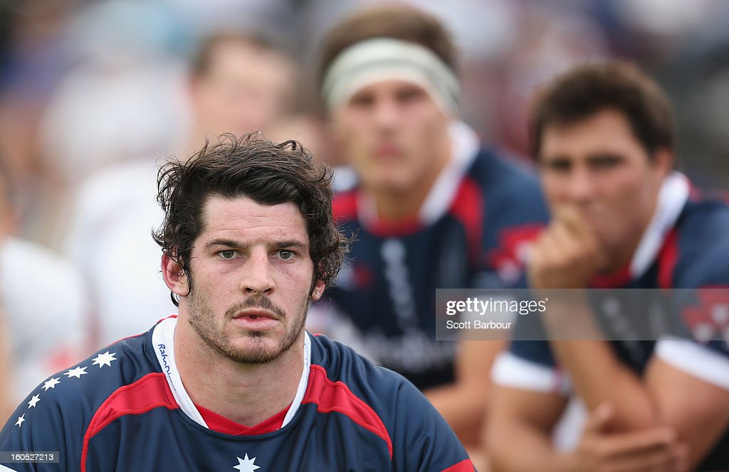 Hugh Pyle (L) of the Rebels looks on during the Super Rugby trial match between the Waratahs and the Rebels at North Hobart Stadium on February 2, 2013 in Hobart, Australia.