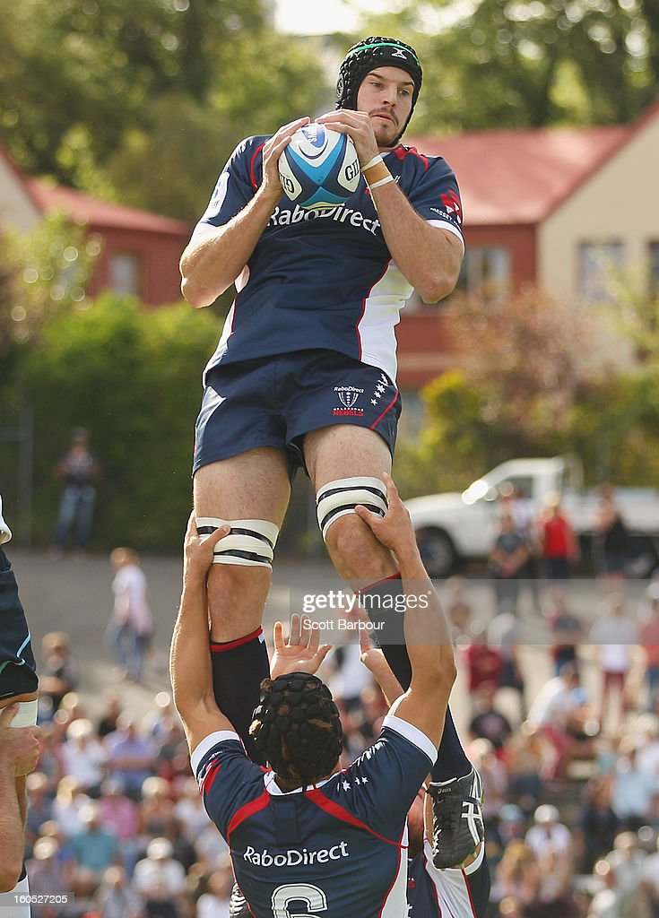 Hugh Pyle of the Rebels wins a lineout during the Super Rugby trial match between the Waratahs and the Rebels at North Hobart Stadium on February 2, 2013 in Hobart, Australia.