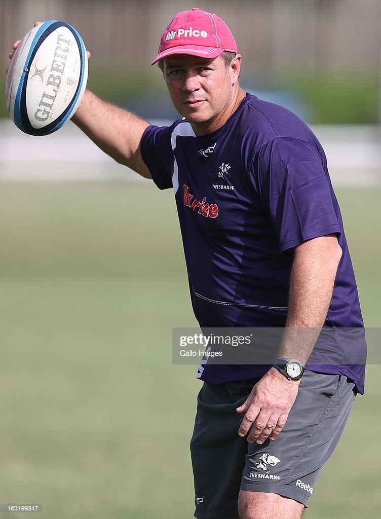 Hugh Reece Edwards, assistant coach, during The Sharks training session from Kings Park on March 06, 2013 in Durban, South Africa.