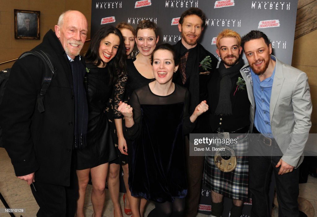 Hugh Ross, Catherine Murray, Lisa Gardner, Richard Hansel, Kevin Guthrie, Claire Foy and James McAvoy attend the 'Macbeth' after party at One Whitehall Place on February 22, 2013 in London, England.