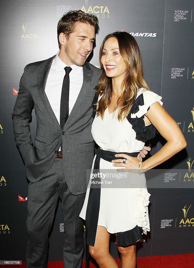 Hugh Sheridan (L) and <a gi-track='captionPersonalityLinkClicked' href=/galleries/search?phrase=Natalie+Imbruglia&family=editorial&specificpeople=202130 ng-click='$event.stopPropagation()'>Natalie Imbruglia</a> arrive at the 2nd AACTA International Awards held at Soho House on January 26, 2013 in West Hollywood, California.
