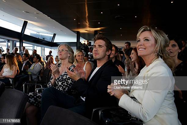 Hugh Sheridan and Rebecca Gibney attend the 53rd TV Week Logie Awards nominations announcement at the Overseas Passenger Terminal on April 3 2011 in...
