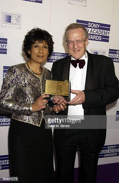 Hugh Sykes and Moira Stuart pose at the 'Sony Radio Academy Awards' at Grosvenor House Park Lane on May 12 2004 in London The prestigious awards are...
