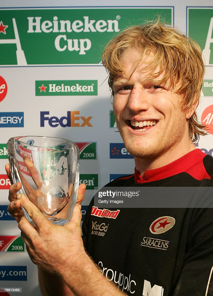 Hugh Vivyan of Saracens with his Man of the Match award during the Heineken Cup Round 5 Pool 4 match between Saracens and Biarritz Olympique at...