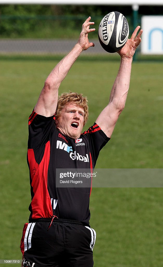 Hugh Vyvyan catches the ball during the Saracens training session on May 25, 2010 in St Albans, England.
