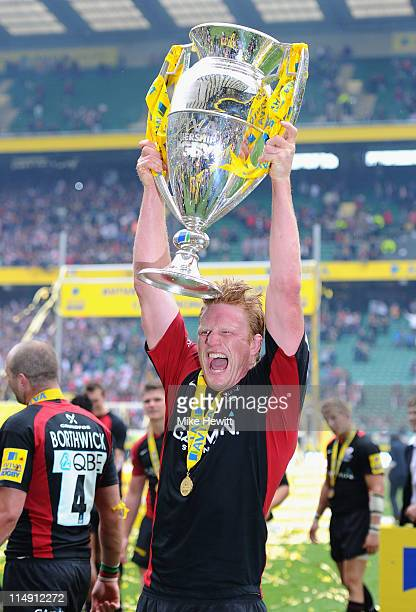 Hugh Vyvyan of Saracens lifts the trophy after the AVIVA Premiership Final between Leicester Tigers and Saracens at Twickenham Stadium on May 28 2011...