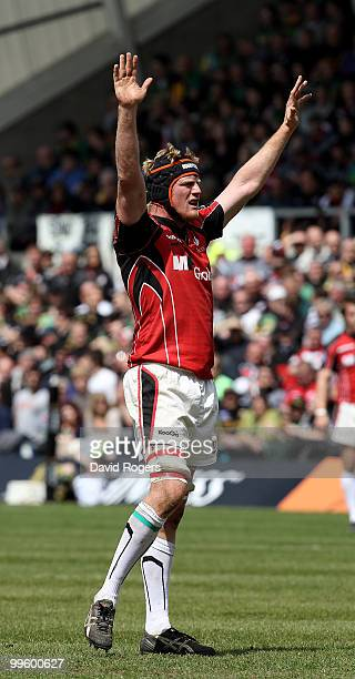 Hugh Vyvyan of Saracens looks on during the Guinness Premiership semi final match between Northampton Saints and Saracens at Franklin's Gardens on...