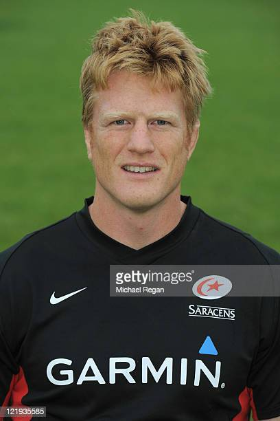 Hugh Vyvyan of Saracens poses for a portrait during the Saracens photocall on August 23 2011 in St Albans England