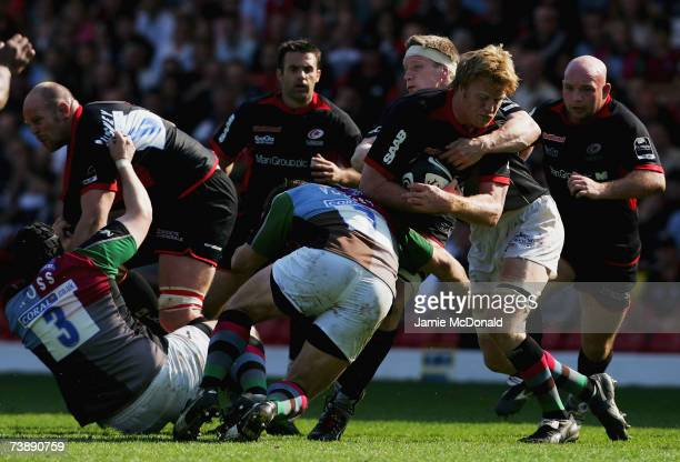 Hugh Vyvyan of Saracens runs into the Harlequins defence during the Guinness Premiership match between Saracens and Harlequins on April 15 2007 at...