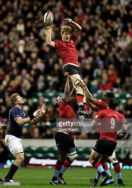 Hugh Vyvyan of the H4H Northern Hemisphere XV wins lineout ball during the Help For Heroes Rugby Challenge match between the H4H Northern Hemisphere...