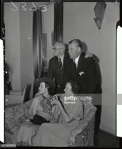 Hugh Walpole Nigel Bruce standing and Kitty Carlisle are shown with Peggy Wood at her party in Hollywood