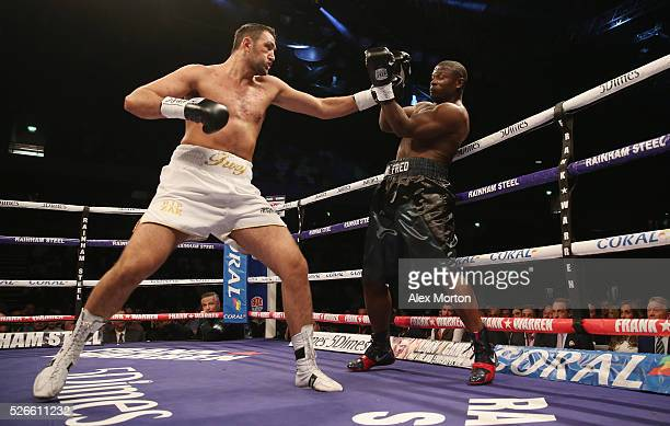 Hughie Fury and Fred Kassi during the vacant WBO Intercontinental Heavyweight Championship contest between Hughie Fury and Fred Kassi at Copper Box...