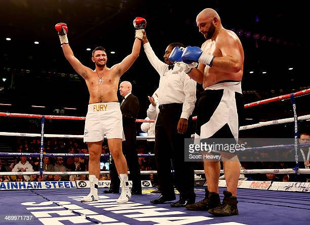 Hughie Fury celebrates his victory over Matthew Greer during their International Heavyweight bout at The Copper Box on February 15 2014 in London...