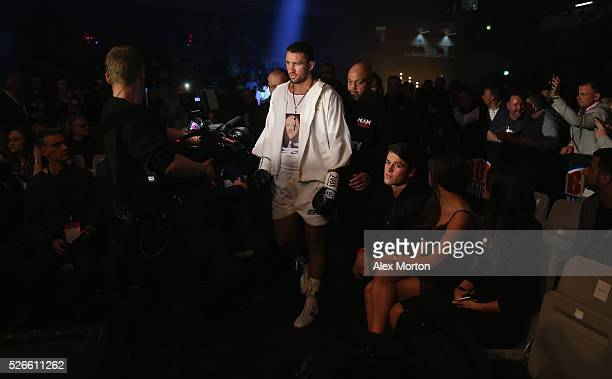 Hughie Fury ebters the ring prior to the vacant WBO Intercontinental Heavyweight Championship contest between Hughie Fury and Fred Kassi at Copper...