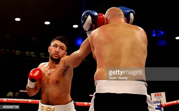 Hughie Fury in action with Matthew Greer during their International Heavyweight bout at The Copper Box on February 15 2014 in London England