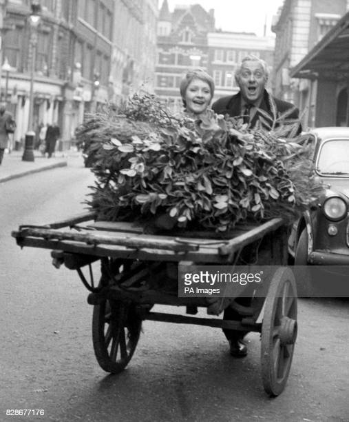 Hughie Green and twentyyearold Monica Rose take a break from rehearsals The couple are shown trundling a market barrow of evergreens Christmas tress...