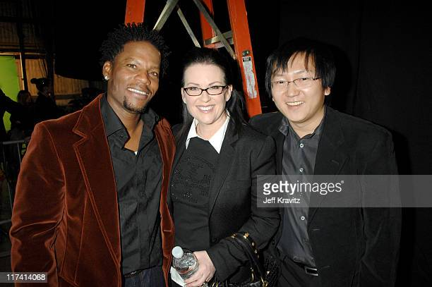 DL Hughley Megan Mullally and Masi Oka during VH1 Big in '06 Backstage and Audience at Sony Studios in Culver City California United States