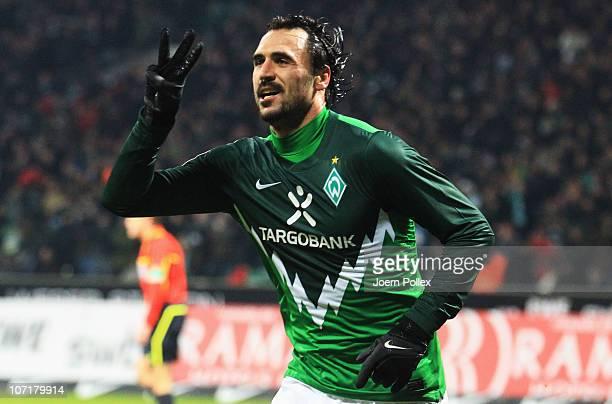 Hugo Almeida of Bremen celebrates after scoring his team's third goal during the Bundesliga match between SV Werder Bremen and FC St Pauli at Weser...