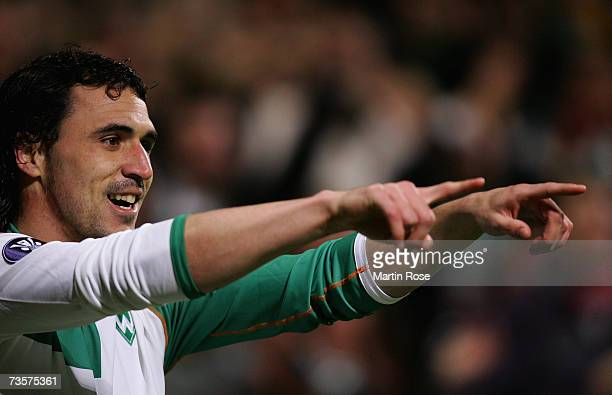 Hugo Almeida of Bremen celebrates his 1st goal during the UEFA Cup round of sixteen second leg match between Werder Bremen and Celta Vigo at the...