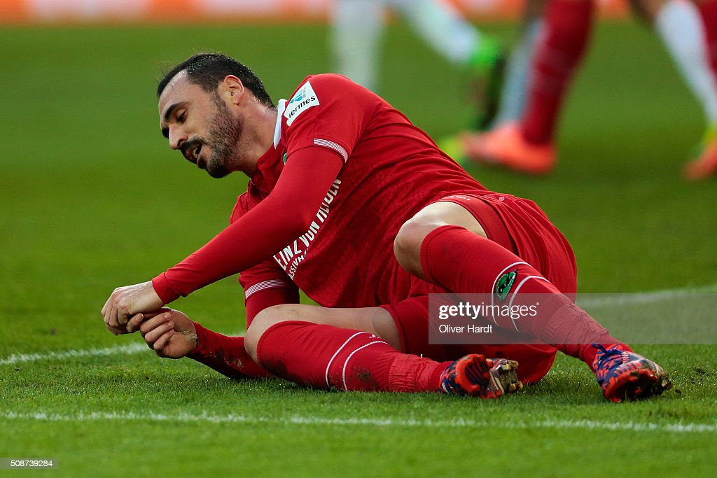 <a gi-track='captionPersonalityLinkClicked' href=/galleries/search?phrase=Hugo+Almeida&family=editorial&specificpeople=615169 ng-click='$event.stopPropagation()'>Hugo Almeida</a> of Hannover appears frustrated during the first Bundesliga match between Hannover 96 and 1. FSV Mainz 05 at HDI-Arena on February 6, 2016 in Hanover, Germany.