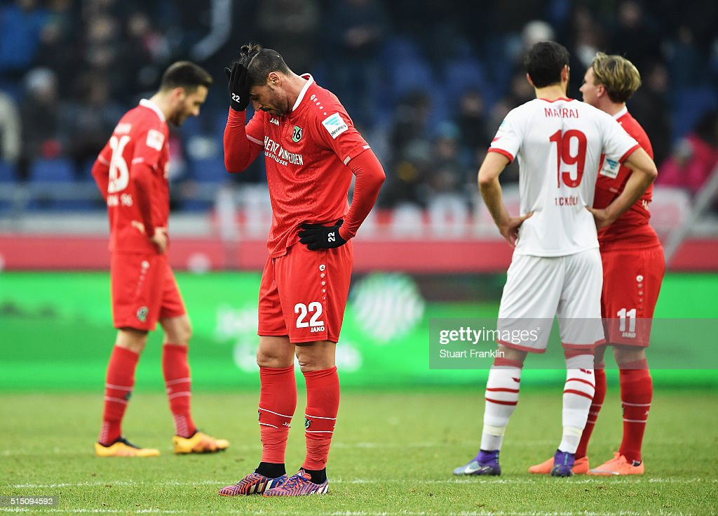 Hugo Almeida of Hannover looks dejected during the Bundesliga match between Hannover 96 and 1. FC Koeln at HDI-Arena on March 12, 2016 in Hanover, Germany.