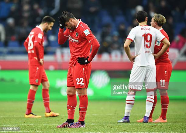 Hugo Almeida of Hannover looks dejected during the Bundesliga match between Hannover 96 and 1 FC Koeln at HDIArena on March 12 2016 in Hanover Germany