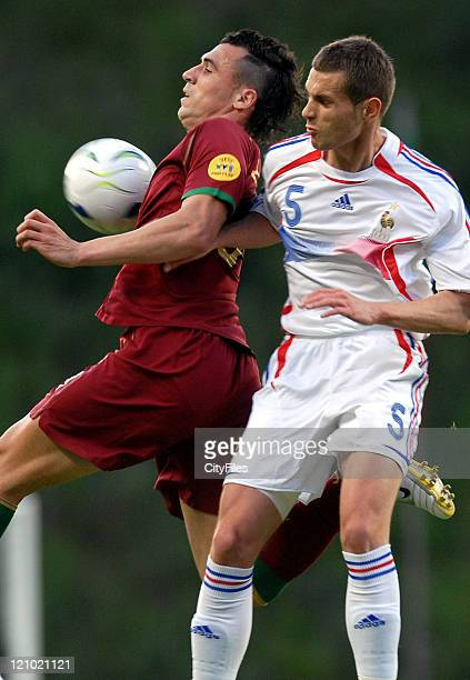 Hugo Almeida of Portugal and Gregory Bourillon of France during the UEFA European Under21 Championship match in Braga Portugal on May 23 2006 France...
