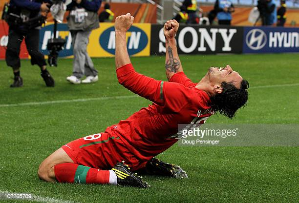 Hugo Almeida of Portugal celebrates after he scores his side's third goal during the 2010 FIFA World Cup South Africa Group G match between Portugal...