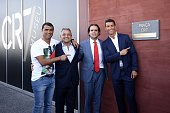 Hugo Aveiro Dionisio Pestana Cristiano Ronaldo and Miguel Albuquerque during the opening of the new 'Pestana CR7 Funchal' Hotel owned by Cristiano...