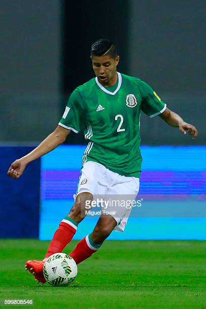 Hugo Ayala of Mexico drives the ball during a match between Mexico and Honduras as part of FIFA 2018 World Cup Qualifiers at Azteca Stadium on...