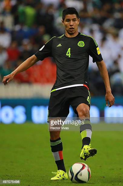 Hugo Ayala of Mexico drives the ball during the match between Mexico and El Salvador as part of the 2018 FIFA World Cup Qualifiers at Azteca Stadium...