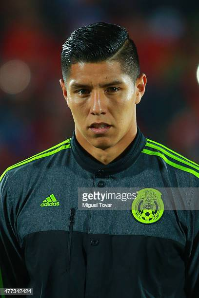 Hugo Ayala of Mexico looks on during the national anthem ceremony prior the 2015 Copa America Chile Group A match between Chile and Mexico at...