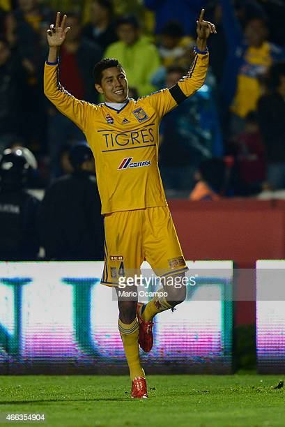 Hugo Ayala of Tigres celebrates after his teammate Joffre Guerron scored the winning goal during a match between Tigres UANL and Pachuca as part of...
