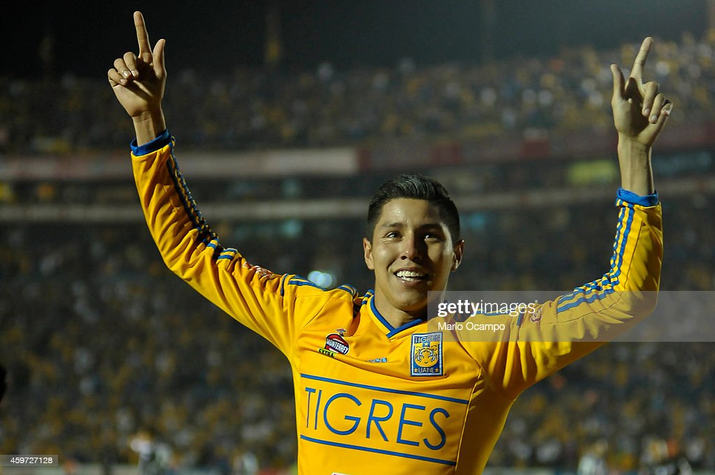 Hugo Ayala of Tigres celebrates after scoring the tying goal during a quarterfinal second leg match between Tigres UANL and Pachuca as part of the...