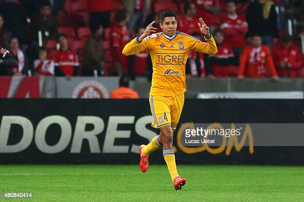 Hugo Ayala of Tigres celebrates their first goal during the match between Internacional v Tigres as part of Copa Bridgestone Libertadores 2015...