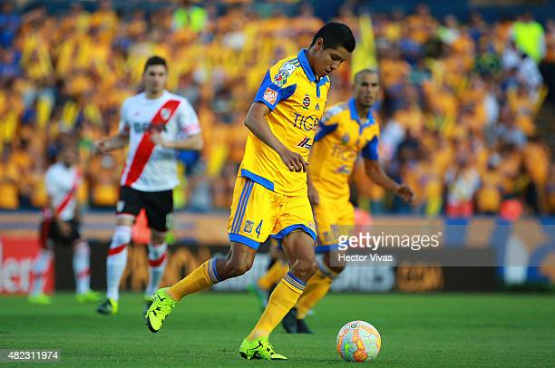 Hugo Ayala of Tigres drives the ball during a first leg final match between Tigres UANL and River Plate as part of Copa Bridgestone Libertadores 2015...