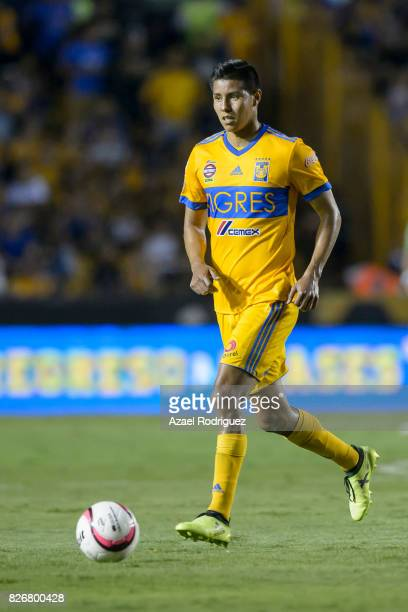 Hugo Ayala of Tigres drives the ball during the 3rd round match between Tigres UANL and Puebla as part of the Torneo Apertura 2017 Liga MX at...