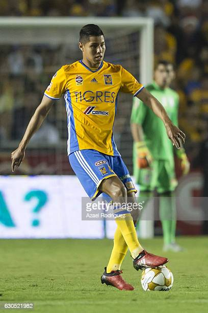 Hugo Ayala of Tigres drives the ball during the Final second leg match between Tigres UANL and America as part of the Torneo Apertura 2016 Liga MX at...