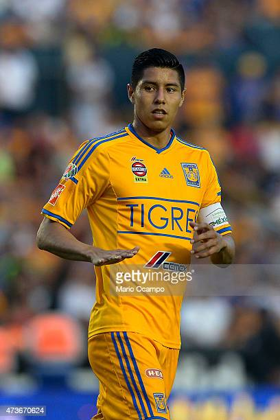 Hugo Ayala of Tigres gestures during a quarterfinal second leg match between Tigres UANL and Santos Laguna as part of Clausura 2015 Liga MX at...