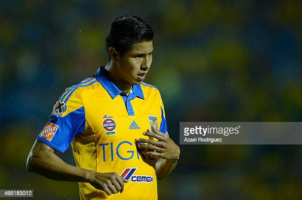 Hugo Ayala of Tigres gestures during the 15th round match between Tigres UANL and Santos Laguna as part of the Apertura 2015 Liga MX at Universitario...