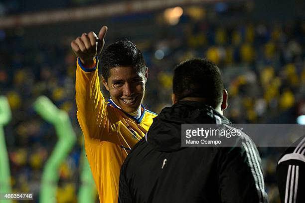 Hugo Ayala of Tigres gets off of the field at the end of a match between Tigres UANL and Pachuca as part of 10th round Clausura 2015 Liga MX at...