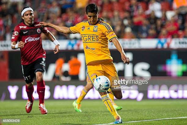 Hugo Ayala of Tigres gets ready to shoot the ball during a match between Tijuana and Tigres UANL as part of 3rd round Apertura 2014 Liga MX at...
