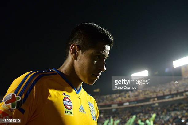 Hugo Ayala of Tigres leaves the field at the end of a match between Tigres UANL and Puebla as part of 5th round Clausura 2015 Liga MX at...