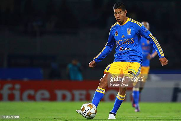 Hugo Ayala of Tigres passes the ball during the quarter finals first leg match between Pumas UNAM and Tigres UANL as part of the Torneo Apertura 2016...