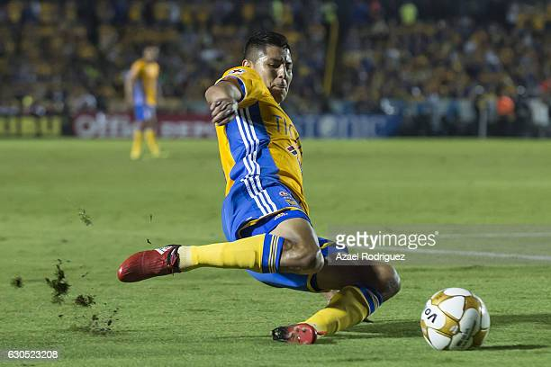Hugo Ayala of Tigres slides to kick the ball during the Final second leg match between Tigres UANL and America as part of the Torneo Apertura 2016...