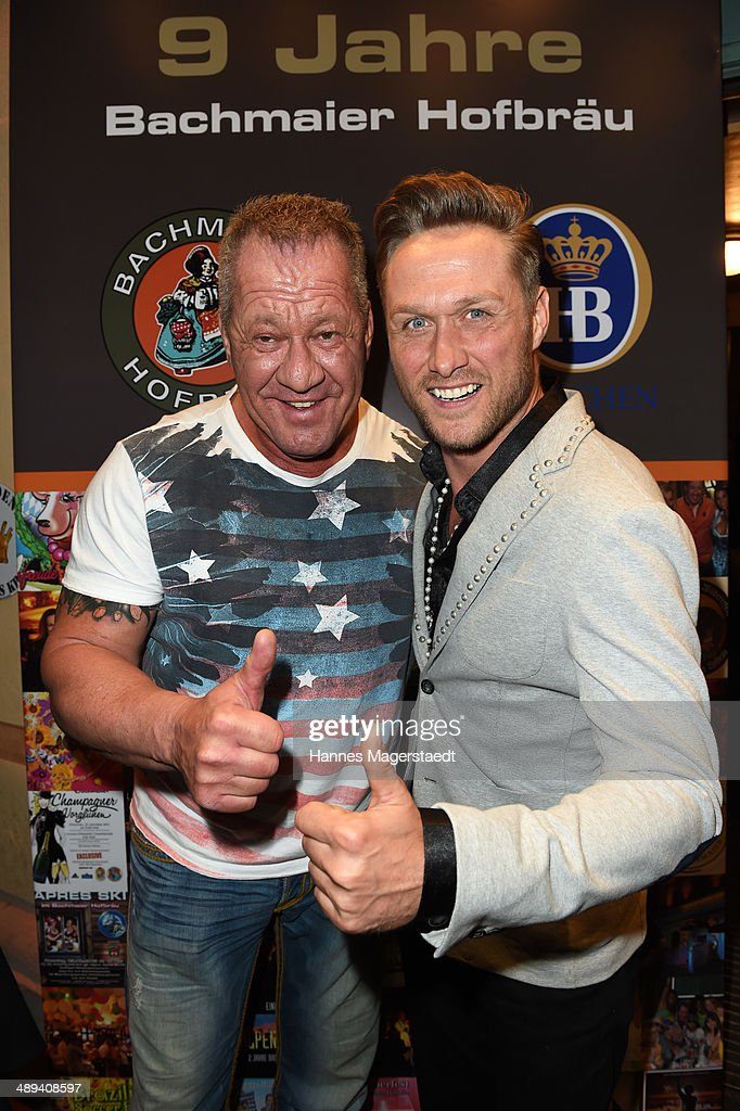 Hugo Bachmaier and Nico Schwanz attend 9 Years Anniversary Bachmaier Hofbraeu at Bachmaier Hofbraeu on May 10, 2014 in Munich, Germany.
