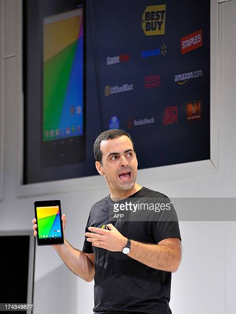 Hugo Barra Vice President Android Product Management at Google displays a new Asus Nexus 7 tablet during a special event at Dogpatch Studios on July...