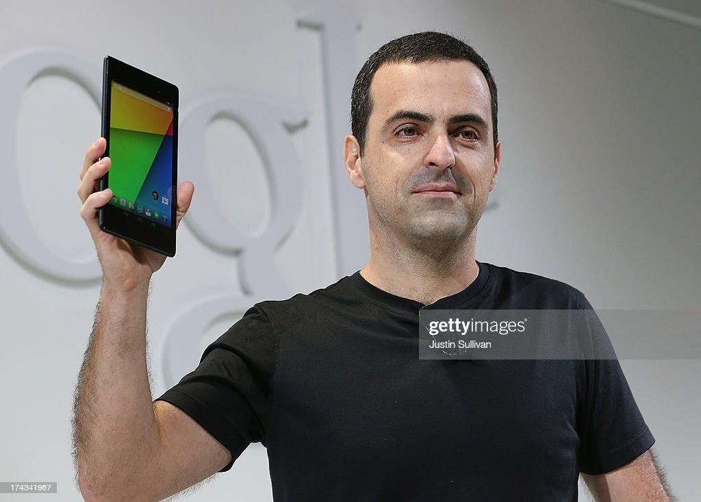Hugo Barra, Vice President, Android Product Management at Google, holds up a new Asus Nexus 7 tablet as he speaks during a special event at Dogpatch Studios on July 24, 2013 in San Francisco, California. Google announced a new Asus Nexus 7 tablet.