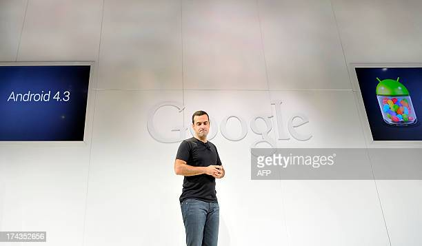 Hugo Barra Vice President Android Product Management at Google speaks at a media event at Dogpatch Studios on July 24 2013 in San Francisco...