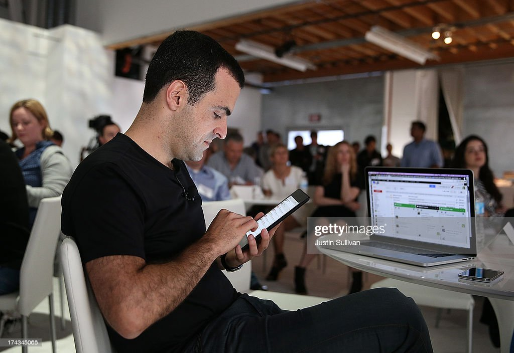 Hugo Barra, Vice President, Android Product Management at Google, works on a new Asus Nexus 7 tablet during a special event at Dogpatch Studios on July 24, 2013 in San Francisco, California. Google announced a new Asus Nexus 7 tablet.